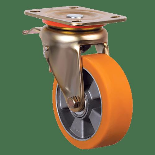 Большегрузное полиуретановое поворотное колесо с тормозом ED01 ABP 100F