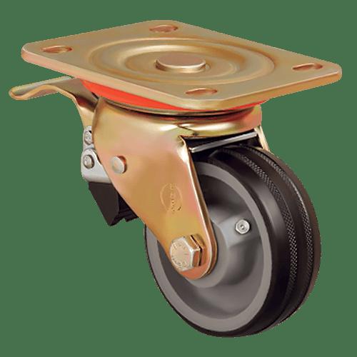 Большегрузное обрезиненное поворотное колесо с тормозом ED01 VBR 100F
