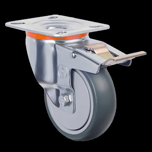 Аппаратное поворотное колесо с тормозом EM01 MBT 100F