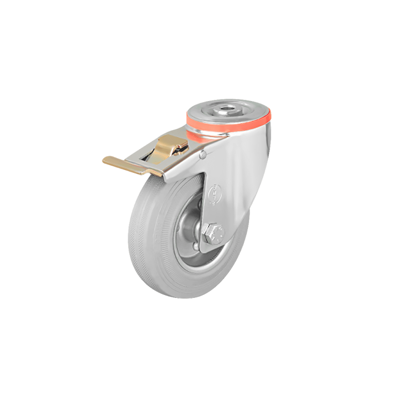 Промышленное поворотное колесо под болт с тормозом EM04 SPRg 80F
