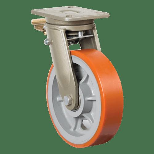 Большегрузное полиуретановое поворотное колесо с тормозом EV01 VBP 150F