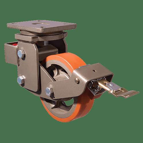 Большегрузное полиуретановое поворотное колесо с тормозом EVY01 VBP 200F