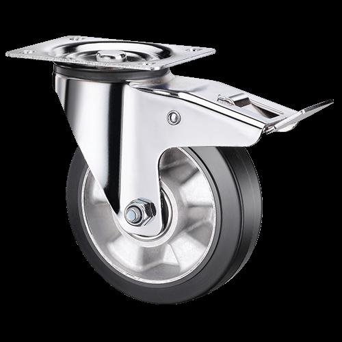 Большегрузное обрезиненное поворотное колесо с тормозом SCDLb 80 HEAVY
