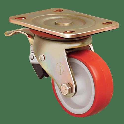 Большегрузное полиуретановое поворотное колесо с тормозом ED01 ZBP 125F